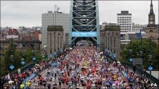 Runners crossing the Tyne Bridge in the Great North Run