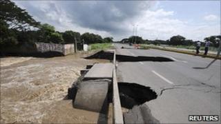 A damaged highway outside Veracruz