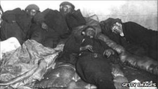 Sleeping miners at the Glamorgan Colliery powerhouse during the 1910 dispute