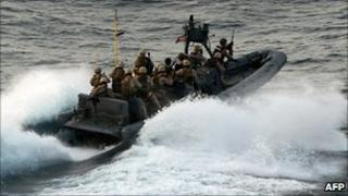 US marines on a mission to take back control of the MV Magellan Star, 9 September 2010