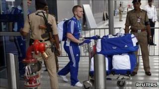 A member of Team Scotland arrives at Delhi airport