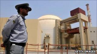 Guard at Bushehr nuclear power plant, Iran - 21 August 2010