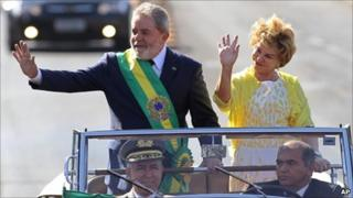 President Luiz Inacio Lula da Silva and his wife Marisa Leticia during the Independence Day parade on 7 September 2010