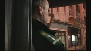 Paramedic in ambulance