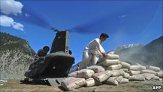 Supplies unloaded from a helicopter