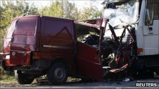 Wreckage of a transportation van and a lorry near Nowe Miasto nad Pilica, 12 October 2010