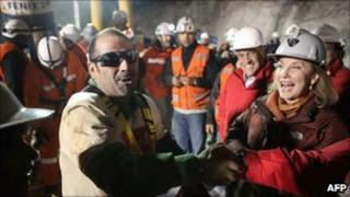 Mario Sepulveda shortly after being rescued