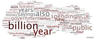 Word Cloud of Chancellor's Spending review speech