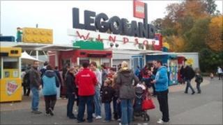 Families outside Legoland
