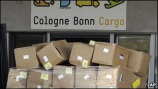 Cargo on fork lift at Cologne cargo airport