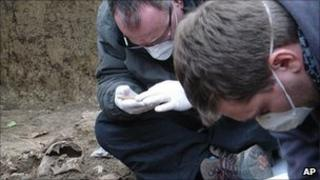 Researchers at site of mass grave