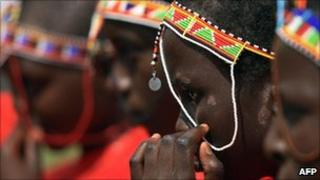 Maasai girls attend an alternative right of passage in Kenya in 2008 at a ceremony organised by an anti-female genital mutilation campaign group.