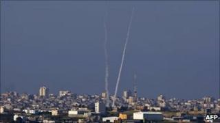 Trails of rockets fired from Gaza – January 2009