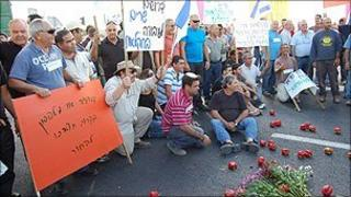 Israeli farmers at protest