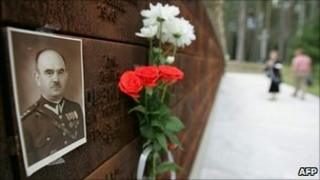 The portrait of an executed Polish officer on a memorial wall near Katyn, western Russia (image from 2005)
