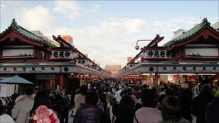 Busy market area in Asakusa, home to several ancient Buddhist temples