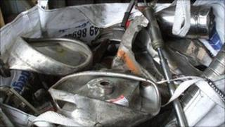 Crushed beer kegs