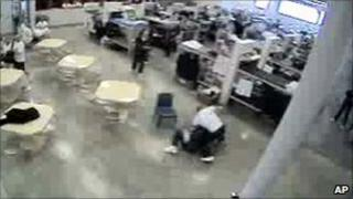 A video snapshot of the fight between the two Idaho inmates