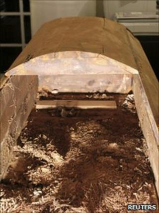 The coffin in which Lee Harvey Oswald (suspected killer of president John F Kennedy) was first buried. Undated picture