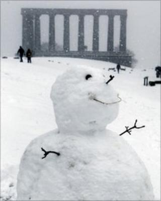 A snowman in Scotland