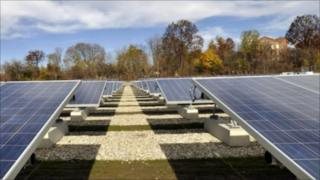 Solar panel facility run by the Western Massachusetts Electric Company in Pittsfield, Massachusets