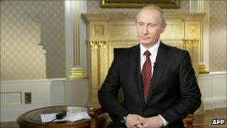 Vladimir Putin recording an interview with American television earlier this week