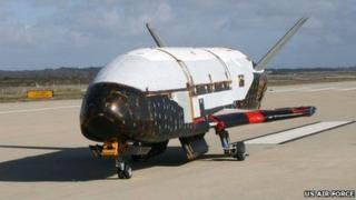 An undated picture of the X-37B prototype before launch (US Air Force)