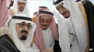 Saudi King Abdullah (left), Prince Salman bin Abdul Aziz (right) and other Saudi officials in Riyadh. Photo: 22 November 2010