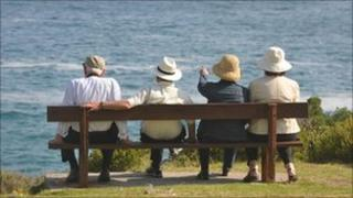 Pensioners on a bench