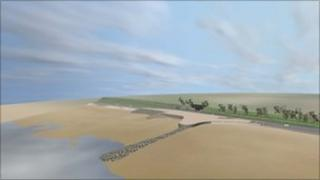 A computer image of how the seafront will look after the coastal defence work