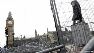 Damage in Parliament Square