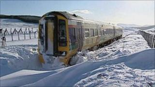 Snowed-in train