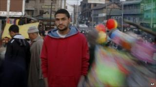 MC Kash on the street in Srinagar, Kashmir