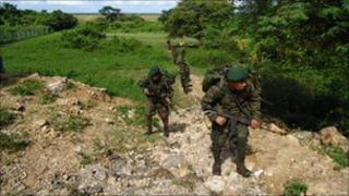 Guatemalan troops on operation