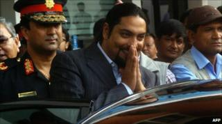 Picture from September 2007, of Paras Shah leaving a hospital in Kathmandu