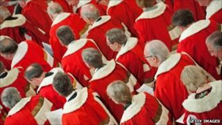 Members of the House of Lords at the State opening of Parliament