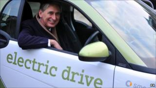 Transport Secretary Philip Hammond sits in a Smart fortwo electric car during the announcement that nine plug-in cars will be eligible for subsidies