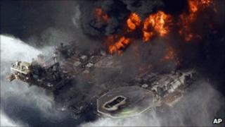The Deepwater Horizon before it sank in April