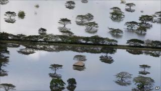farmland under water in La Victoria in southern Colombia on 15 December
