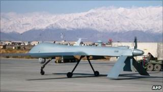 US Predator unmanned drone at Bagram air base in Afghanistan - 27 November 2009