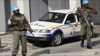 UN peacekeepers patrol street in Abidjan