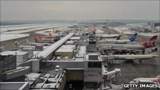 Gatwick Airport in the snow
