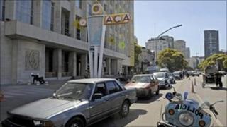 Cars queue in Buenos Aires, Argentina