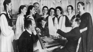 Agathe von Trapp (second from left) rehearses with the Trapp Family Singers in 1946