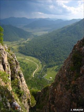 View from a rock above Denisova cave on to the excavation field camp (Johannes Krause)