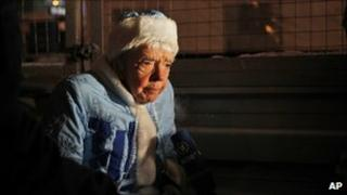 Human rights activist Lyudmila Alexeyeva, dressed as a Russian snow maiden, at a rally in Moscow (31 December 2010)