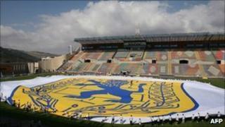 Huge Jerusalem flag unfurled at the Teddy stadium