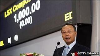 Dethphouvang Moularat, chairman and chief executive officer of Lao Securities Exchange (LSX), speaks during the opening of the stock exchange, in Vientiane, Laos, on Tuesday, Jan. 11, 2011.