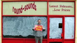 Writer Graham Jones outside a closed down record shop