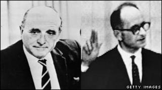 Klaus Barbie in Bolivia in 1972 and Adolf Eichmann (right) on trial in Jerusalem in 1961